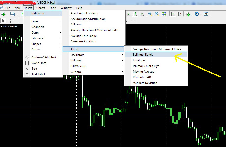 how to add bollinger band indicator